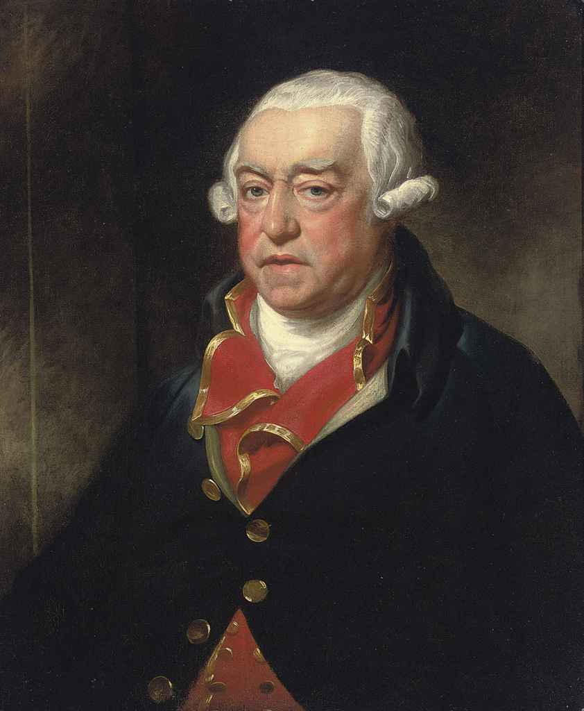 Portrait of a gentleman, half-length, in a blue coat and gold-trimmed red waistcoat