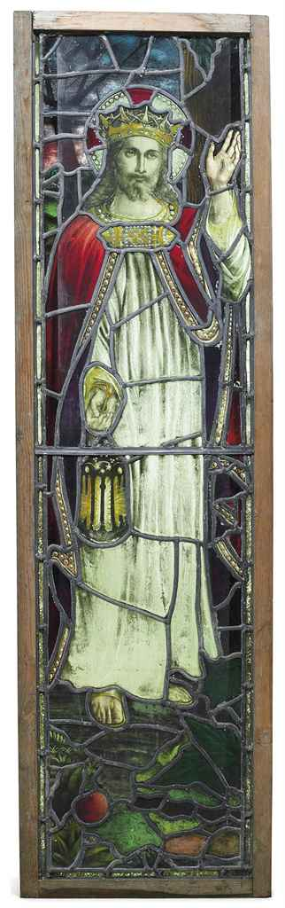 A VICTORIAN STAINED GLASS WINDOW 'THE LIGHT OF THE WORLD'