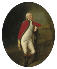 Portrait of a gentleman, full-length, in uniform, his left arm leaning on a fence, in a landscape with a church beyond