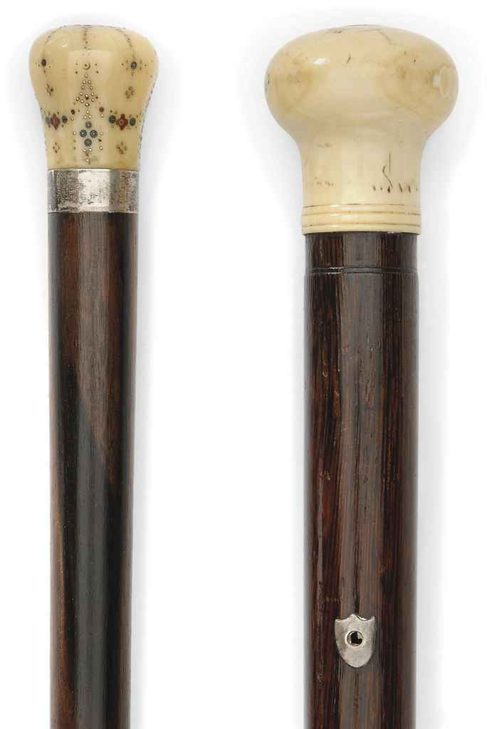 TWO IVORY HANDLED ROSEWOOD WAL