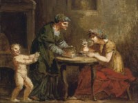 An old woman serving a lady seated at a table, with a child attending