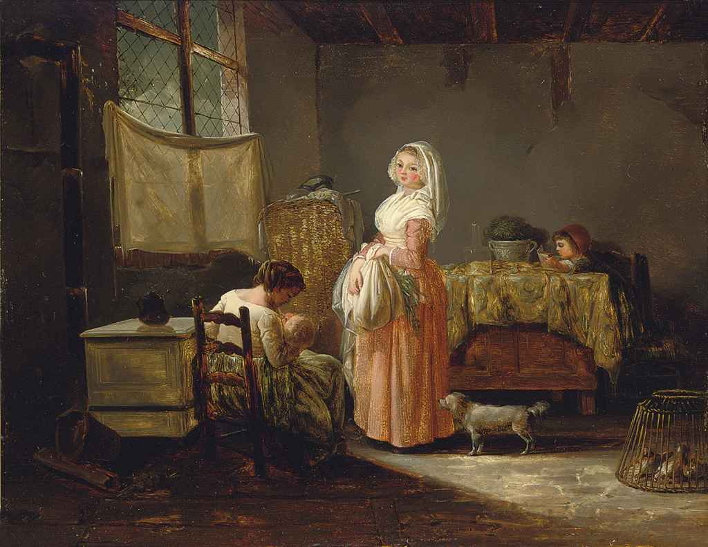 Women and children in a kitchen interior