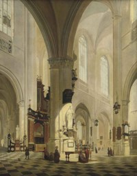 The interior of a cathedral with elegant company