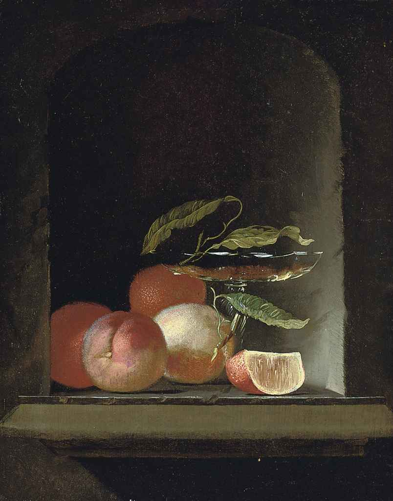 A glass roemer, vine leaves and oranges in a stone niche