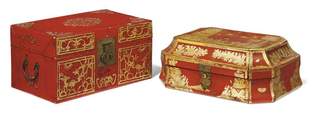 A VENETIAN RED AND GILT-JAPANN