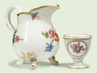 A SEVRES EGG-CUP AND A PEAR-SH