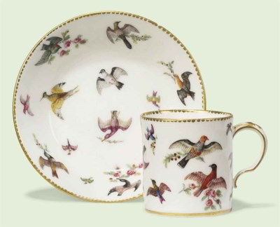 A SEVRES COFFEE-CAN AND SAUCER