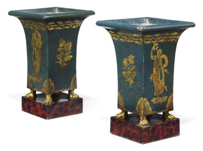 A PAIR OF FRENCH TOLE PEINTE C
