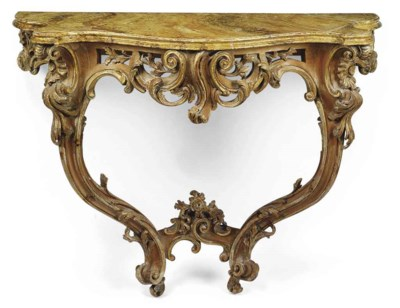 A LOUIS XV STYLE GILTWOOD CONS