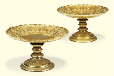 A PAIR OF FRENCH GILT-METAL TA