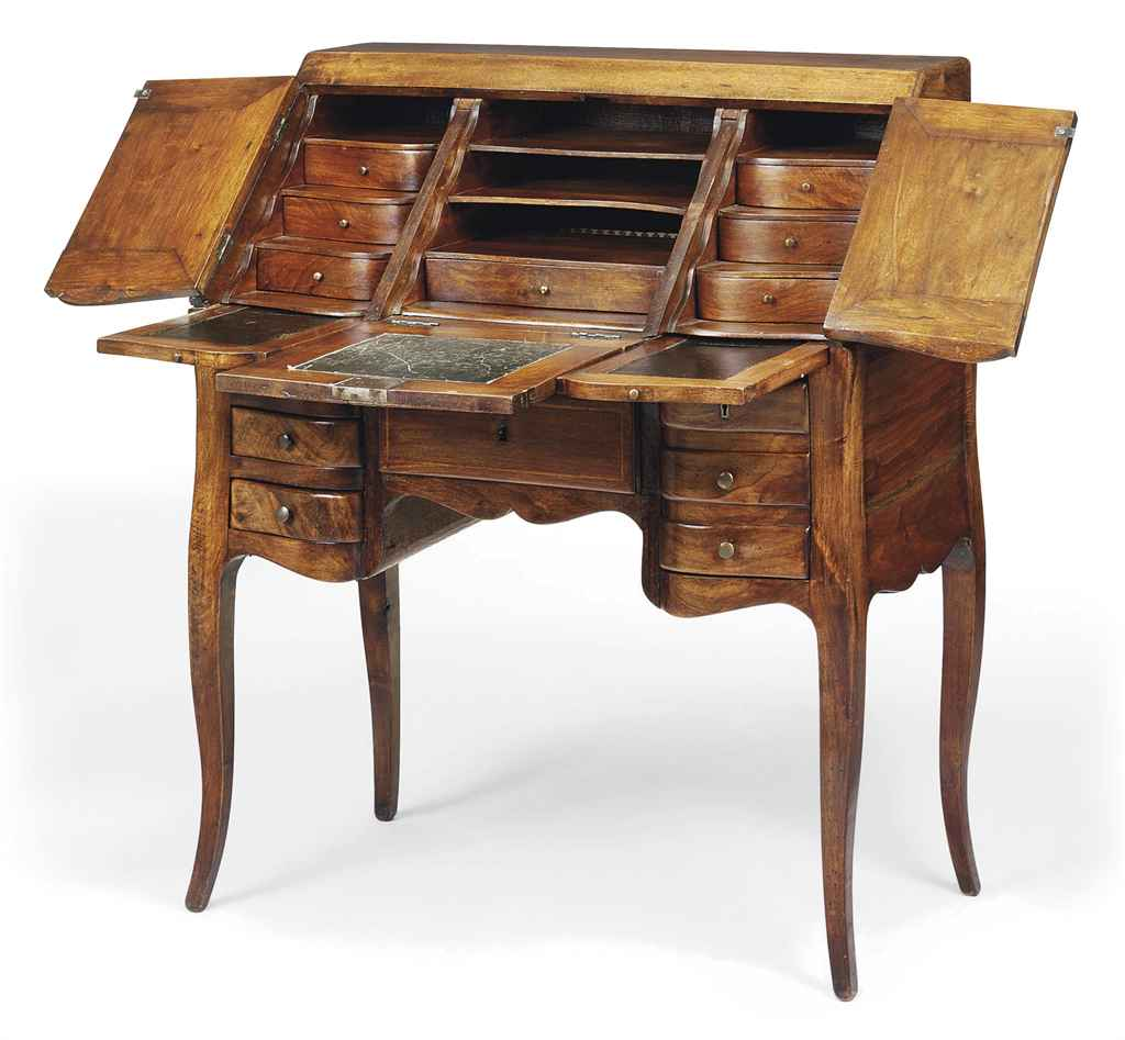 A LOUIS XV STYLE WALNUT AND SY
