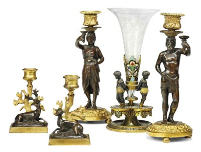 A PAIR OF GILT-METAL AND BRONZ