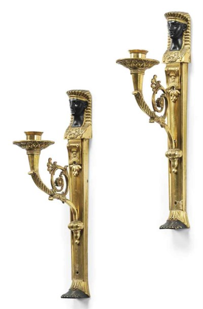 A PAIR OF GILT-BRONZE AND BLAC