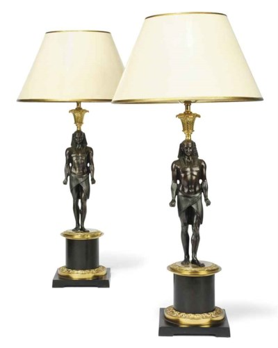 A PAIR OF EMPIRE STYLE GILT-ME