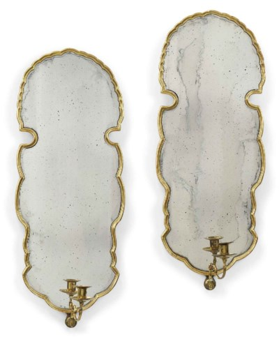 A PAIR OF BRASS-MOUNTED GILTWO