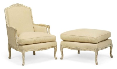 A LOUIS XV STYLE PAINTED BEECH