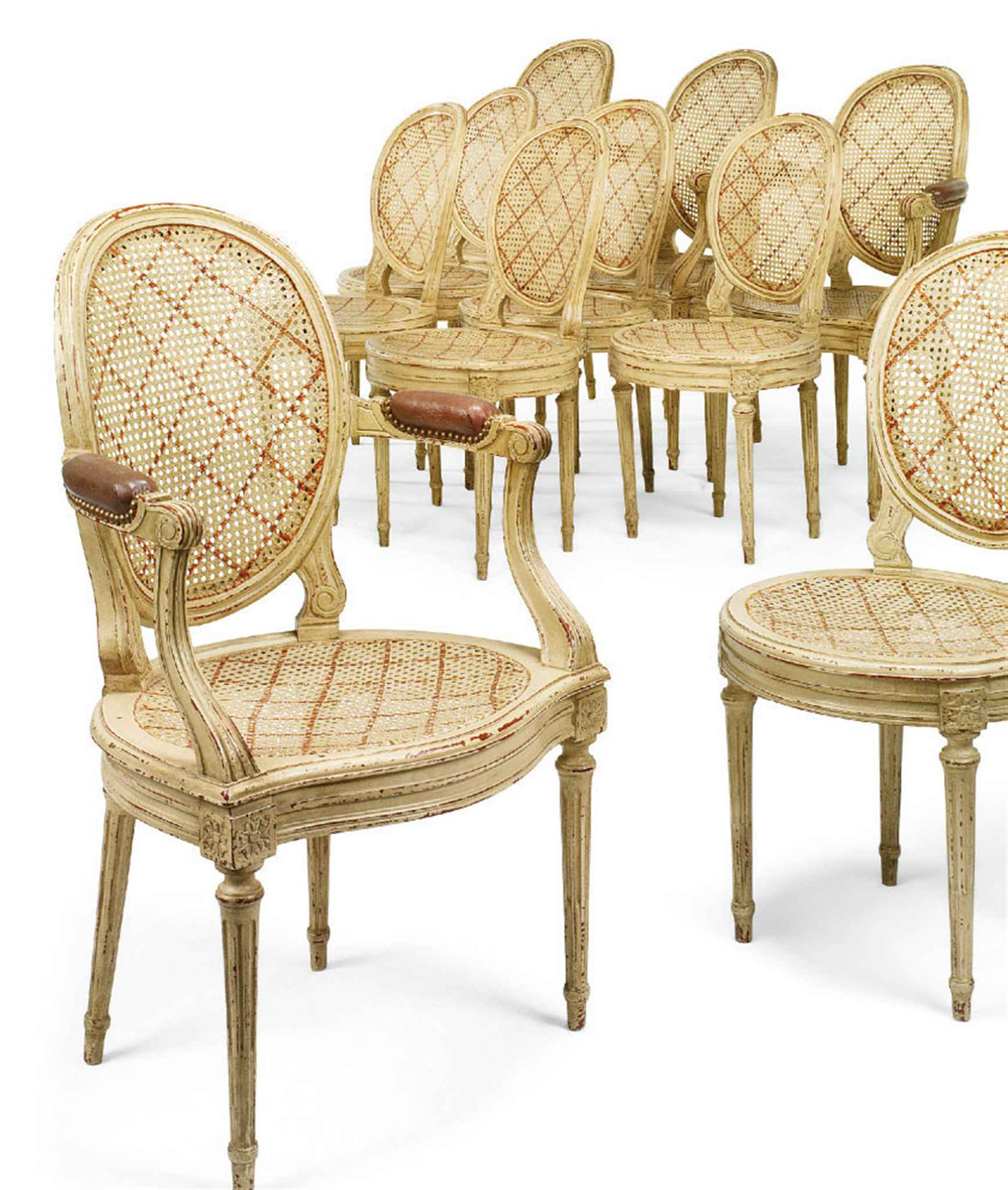 A SET OF TEN LOUIS XVI STYLE CREAM AND RED-PAINTED DINING ...