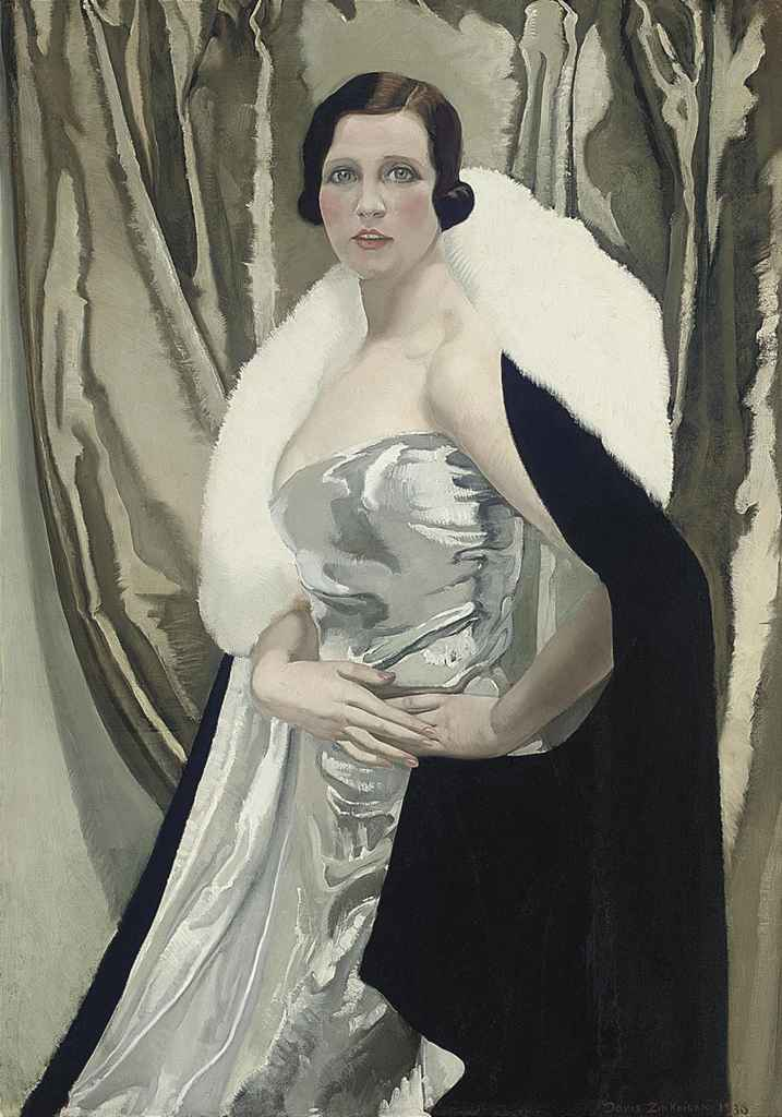 Portrait of Mrs Irwin Buxton, three-quarter-length, in a silver dress and a black wrap with white fur trim