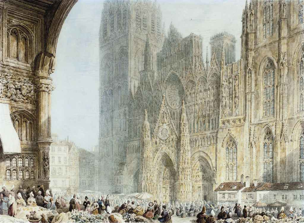 Market day before Rouen Cathedral
