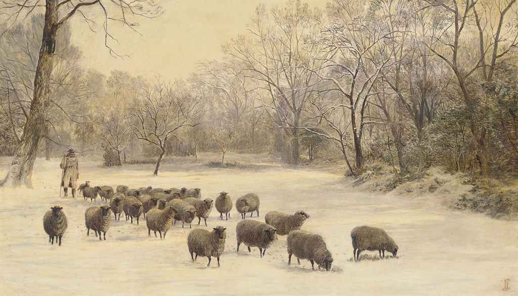 A shepherd and flock in a snowy landscape