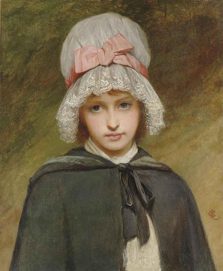 A young girl in a wooded landscape in a white mob cap with pink ribbon