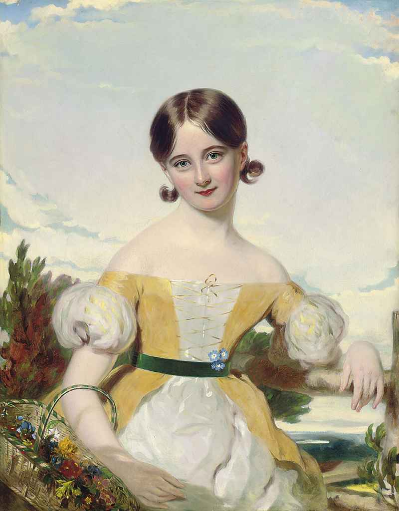 Portrait of a girl, probably a member of the Wynne family of Peniarth, in a yellow and white dress, half-length, with a green sash, holding a basket of flowers, a landscape beyond