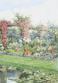 An ornamental garden with a lily pond