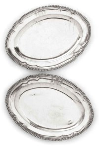 A PAIR OF SMALL GEORGE III SILVER MEAT DISHES