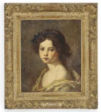 Portrait of a girl, head and shoulders, ribbon in her hair with a yellow warp around her shoulders