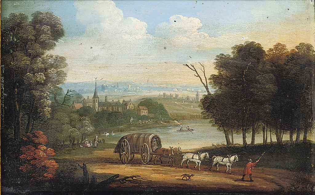 A horsedrawn wagon on a track in an extensive river landscape