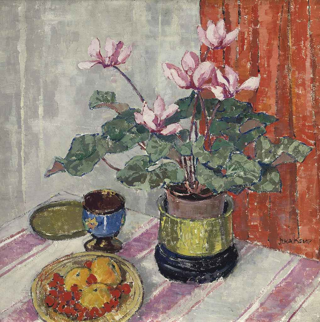 A Still Life with Cyclamen and Clementines