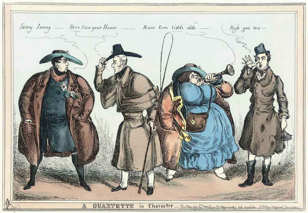 A Quartette in Character; The Guard Wot Looks Arter the Sovereign; The Slap up Swell Wot Drives When Hever He Likes; Mr George King, the Parish Overseer; A Sketch of A Lady Playing with A Sovereign; The Best Friend In The World!!!; The New Preventive Man on the look out; Punishment Drill; Swing!!!; Vice and Profligacy, Extinguished by Equity; Good Humour; and Recruiting Party, Nows Your Time My Lads
