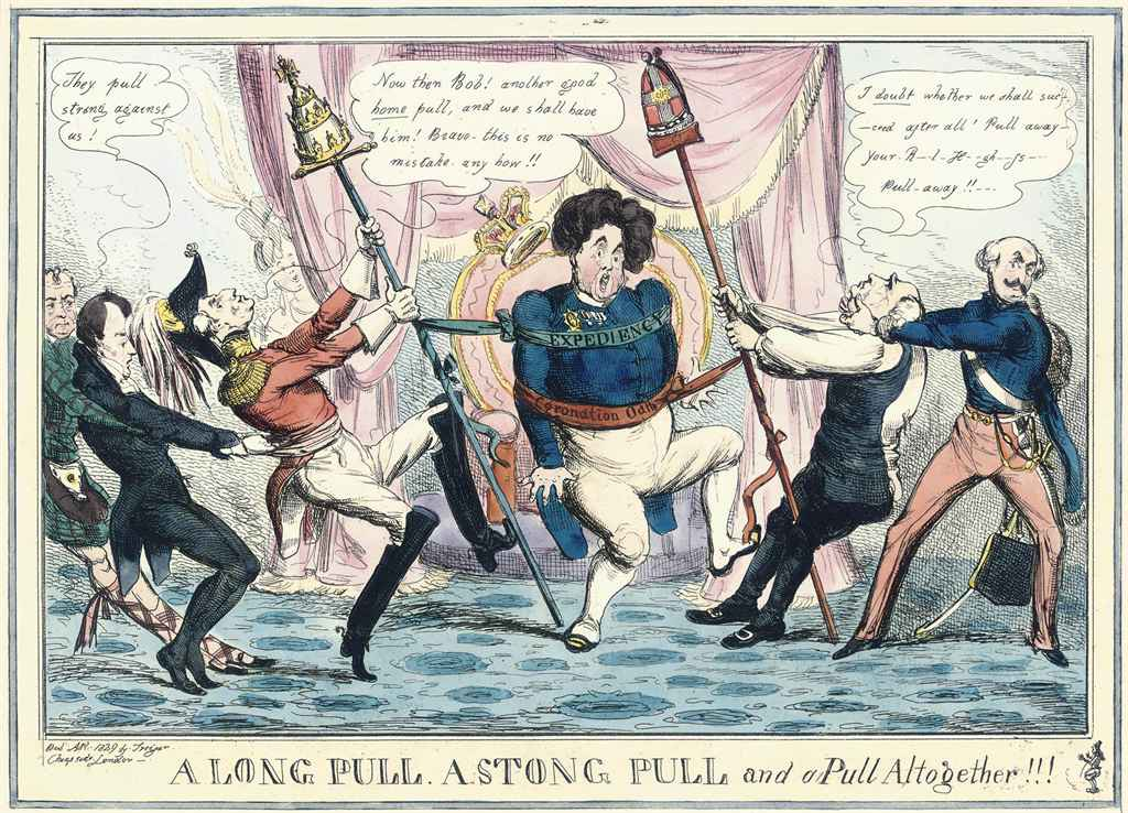 A Long Pull, A Strong Pull and A Pull Altogether; John Bull Flourishing in a dignified attitude of Strict Neutrality; The Plaything; Retrenchment, or Wiskeranders Crossing the Line; The Buck-Basket. A scene from the Merry Wives of Windsor; The Rehearsal Or The Baron and the Elephant; The Political Medley or Things As They Were in June 1812; The Nursery; View of Wirtemburg from Greenwich; A Small Tea Party of Superannuated Politicians; A Courier From France; and The Prophecy