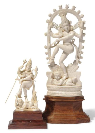 TWO CARVED IVORY FIGURES OF SI