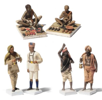 A GROUP OF SIX INDIAN FIGURINE