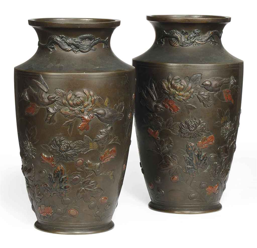A PAIR OF JAPANESE INLAID BRON