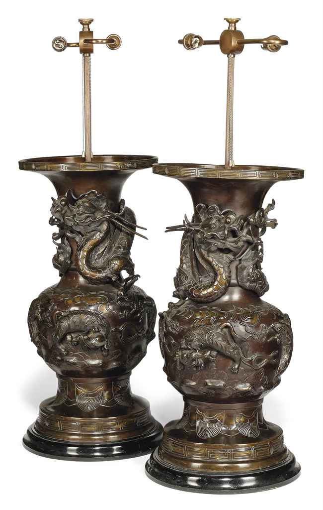 A PAIR OF LARGE JAPANESE BRONZ