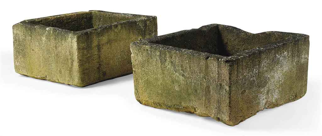 A PAIR OF COTSWOLD STONE TROUG