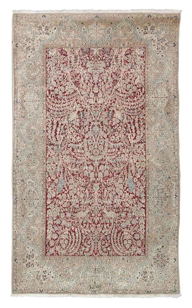 A fine part silk Nain rug of G