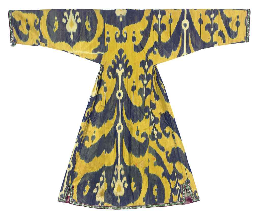 A WAISTED SILK IKAT ROBE