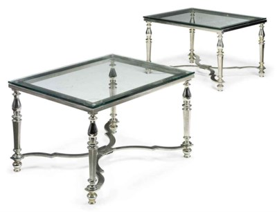 A PAIR OF BRUSHED STEEL OCCASI