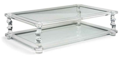 A GLASS AND PERSPEX LOW TABLE