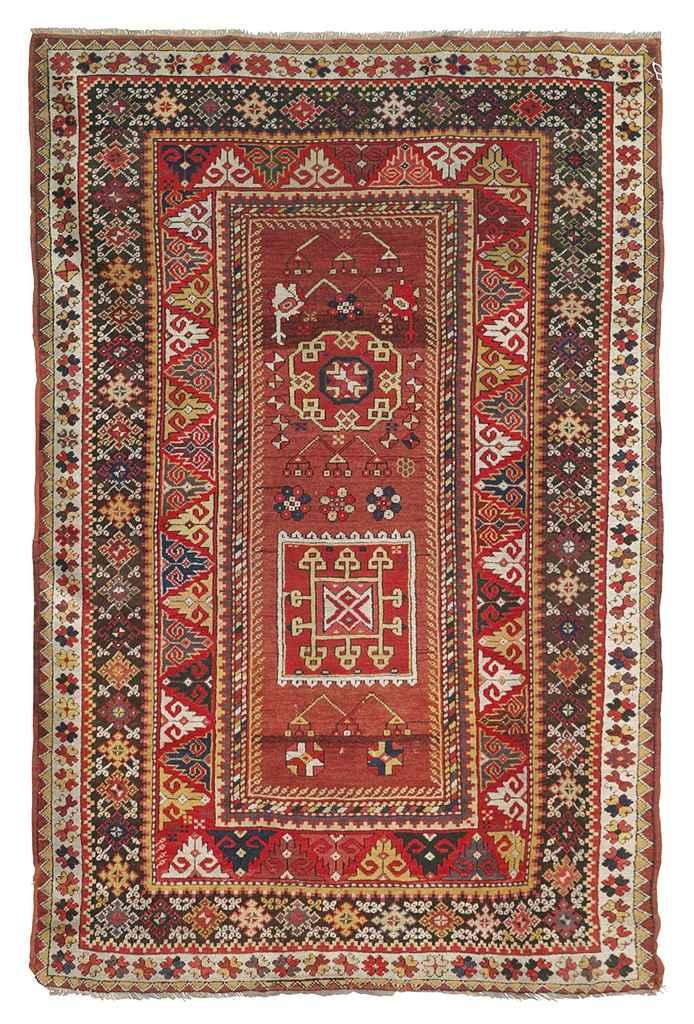 An antique Melas prayer rug