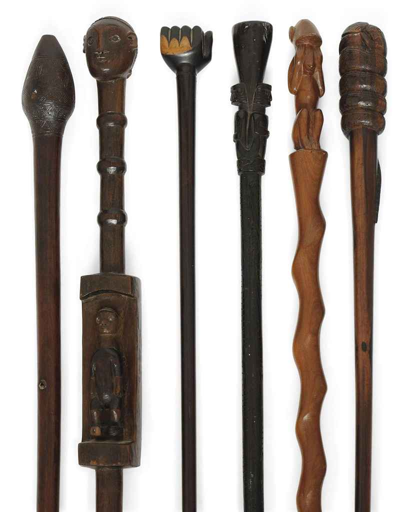Six African Tribal Hard Wood Walking Sticks 19th Century