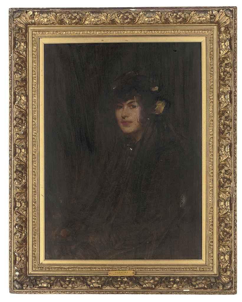 Portrait of Fedalma, half-length, in a black dress