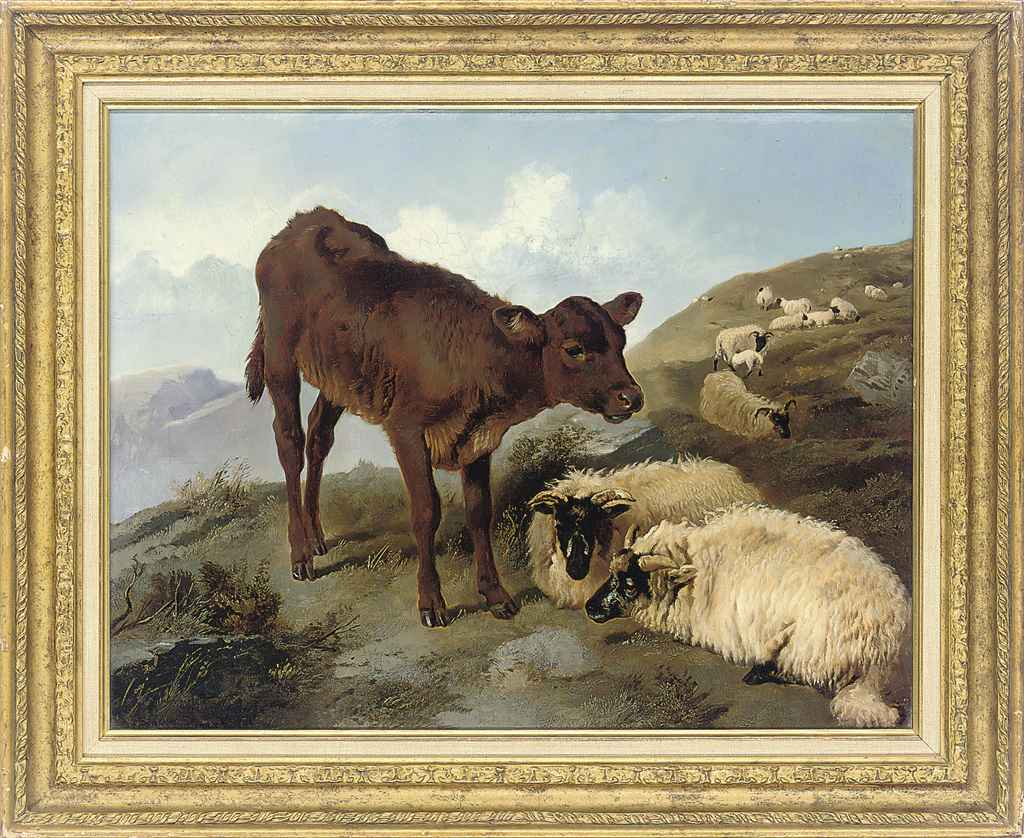 A calf and sheep in a landscape