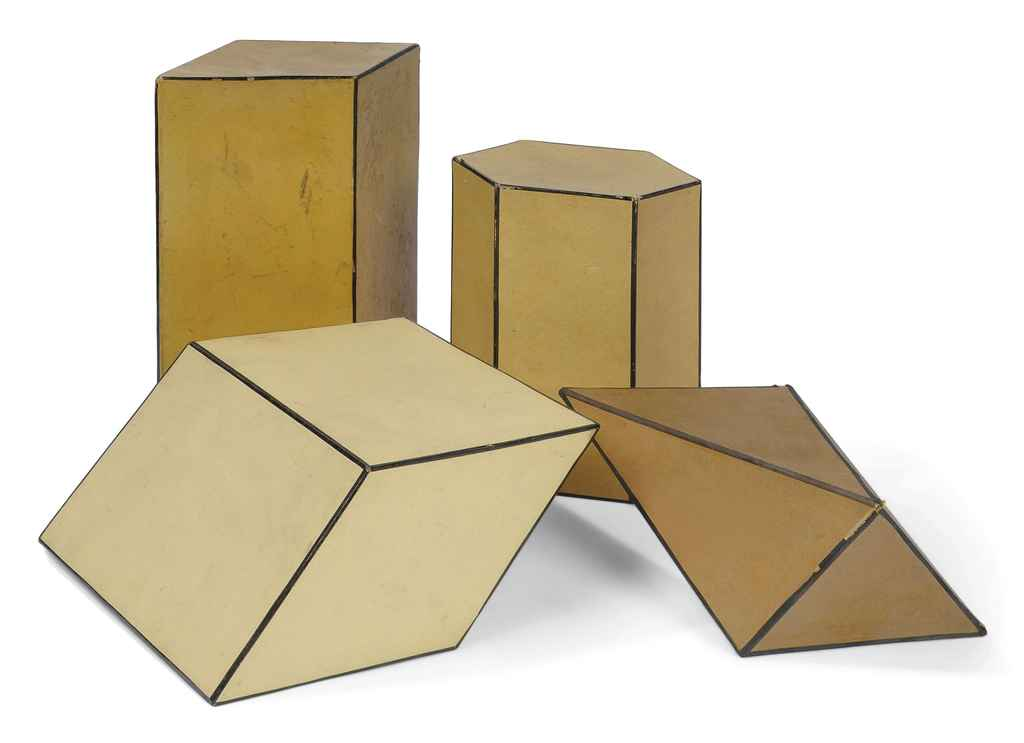 Four cardboard crystal models