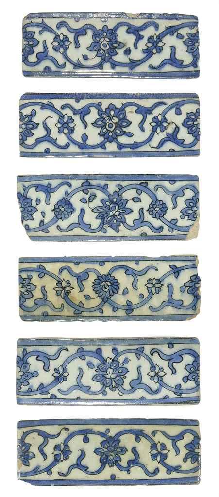 SIX SAFAVID BLUE-AND-WHITE BOR