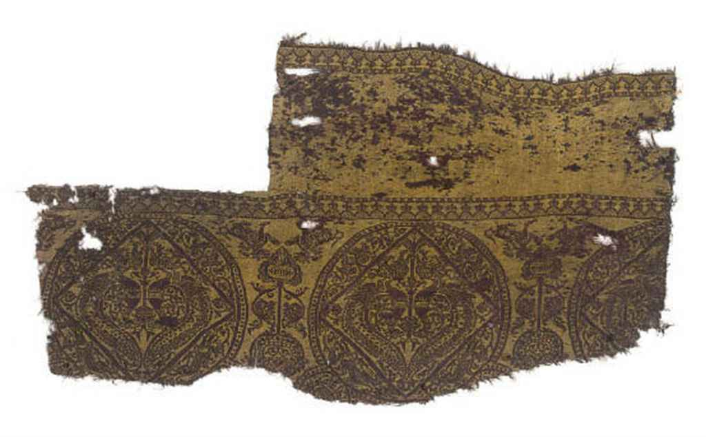 A SILK AND WOOL FRAGMENT AND A