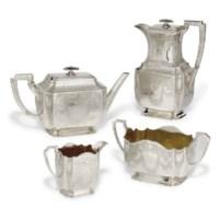 A VICTORIAN SILVER FOUR-PIECE TEA SERVICE